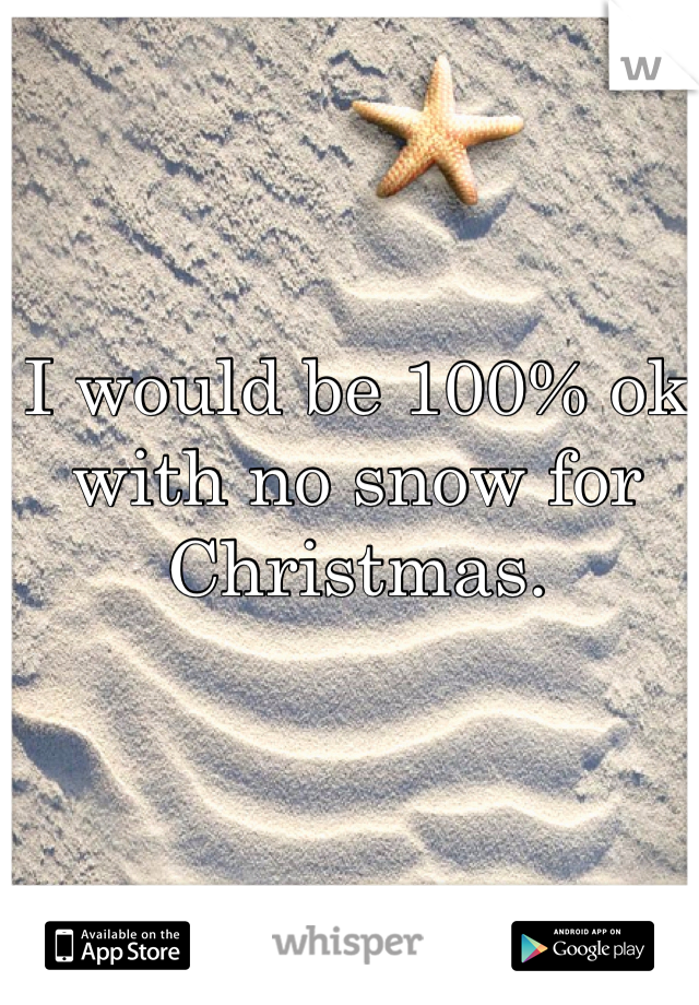 I would be 100% ok with no snow for Christmas.