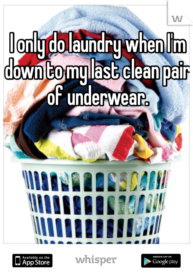 I only do laundry when I'm down to my last clean pair of underwear.