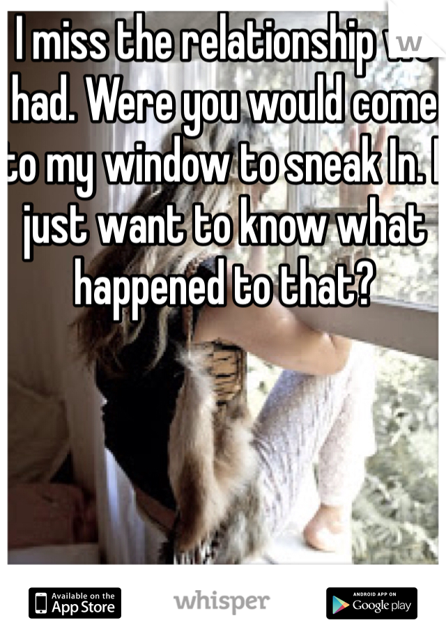 I miss the relationship we had. Were you would come to my window to sneak In. I just want to know what happened to that?
