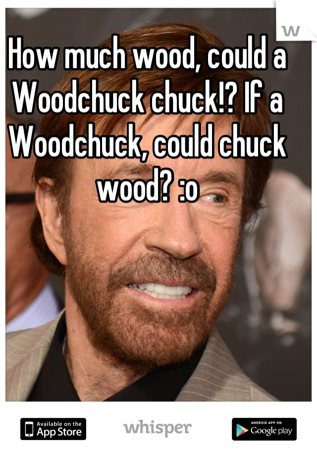 How much wood, could a Woodchuck chuck!? If a Woodchuck, could chuck wood? :o