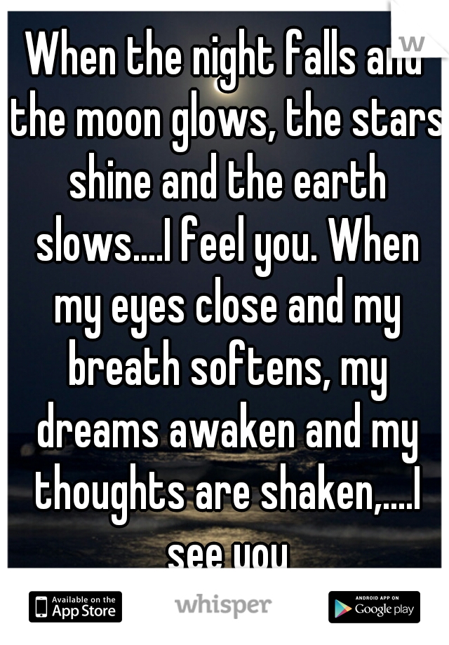 When the night falls and the moon glows, the stars shine and the earth slows....I feel you. When my eyes close and my breath softens, my dreams awaken and my thoughts are shaken,....I see you