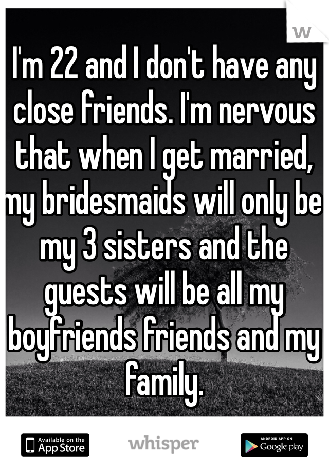 I'm 22 and I don't have any close friends. I'm nervous that when I get married, my bridesmaids will only be my 3 sisters and the guests will be all my boyfriends friends and my family.