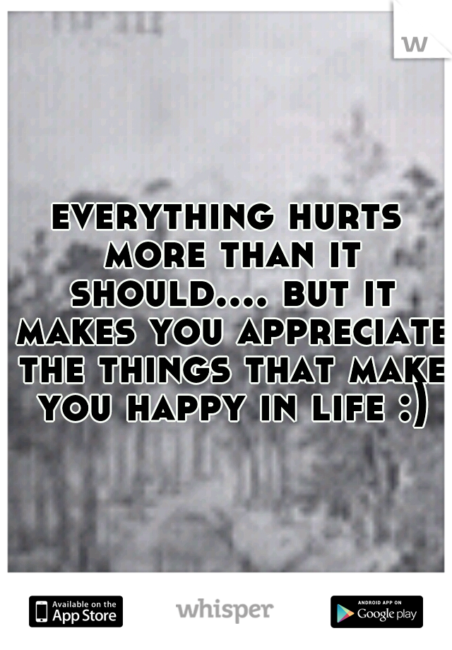 everything hurts more than it should.... but it makes you appreciate the things that make you happy in life :)