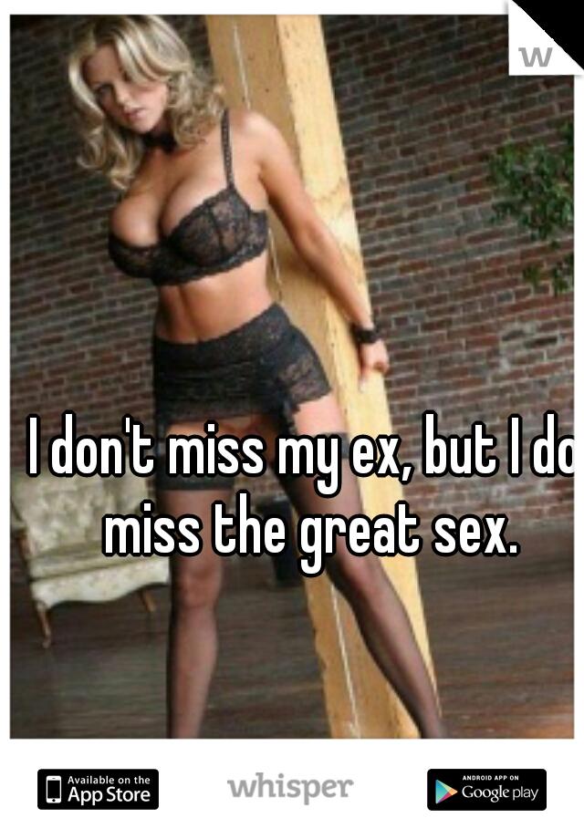 I don't miss my ex, but I do miss the great sex.