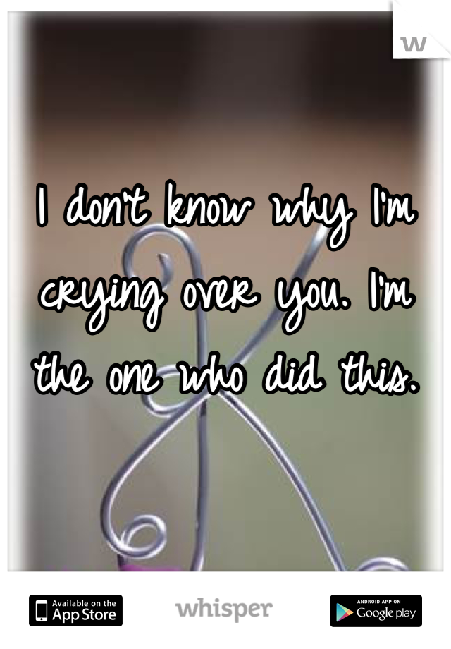 I don't know why I'm crying over you. I'm the one who did this.