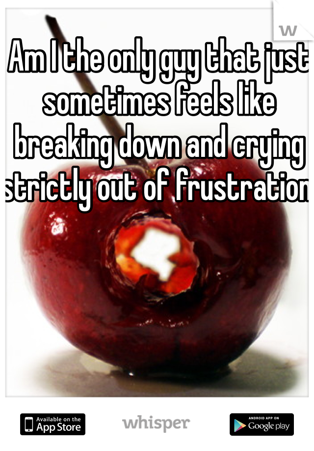 Am I the only guy that just sometimes feels like breaking down and crying strictly out of frustration!