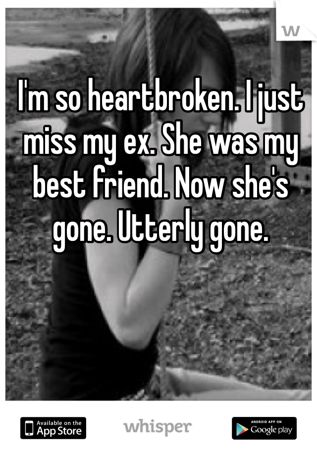 I'm so heartbroken. I just miss my ex. She was my best friend. Now she's gone. Utterly gone.