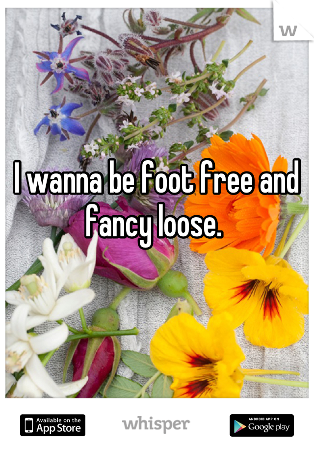 I wanna be foot free and fancy loose.