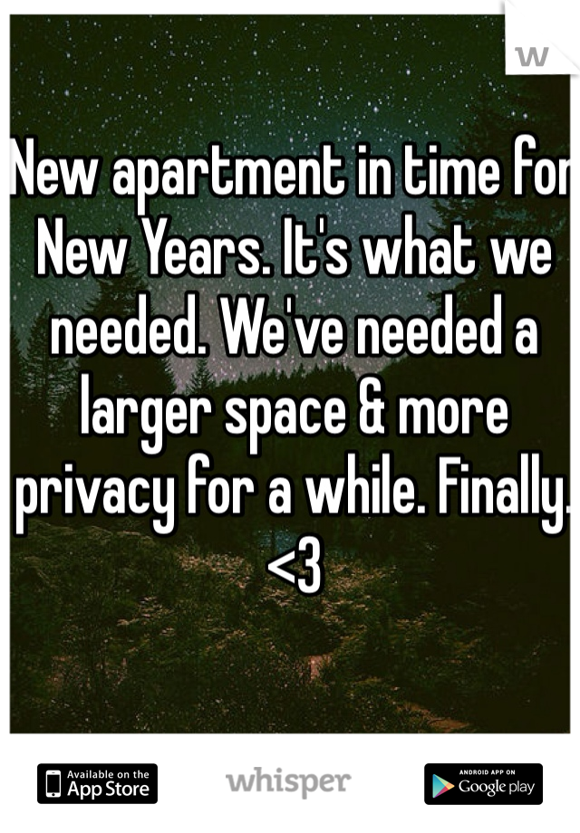 New apartment in time for New Years. It's what we needed. We've needed a larger space & more privacy for a while. Finally. <3