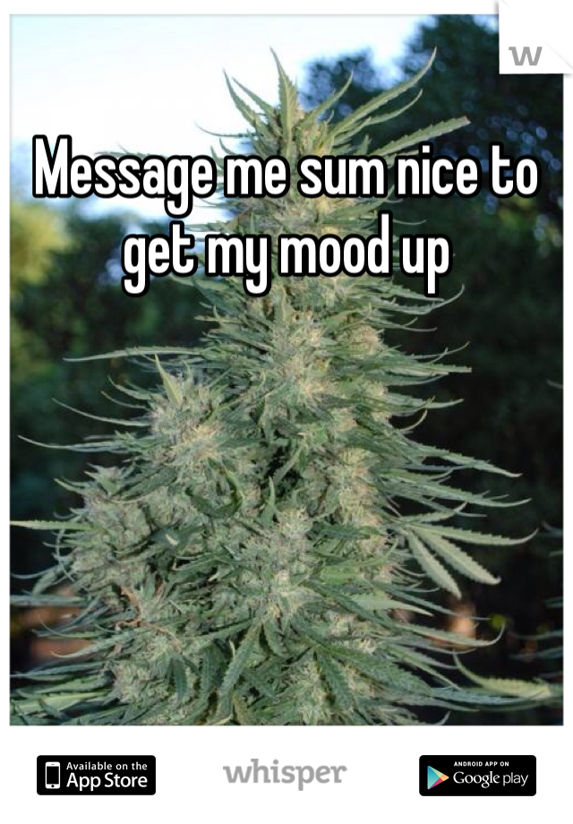Message me sum nice to get my mood up