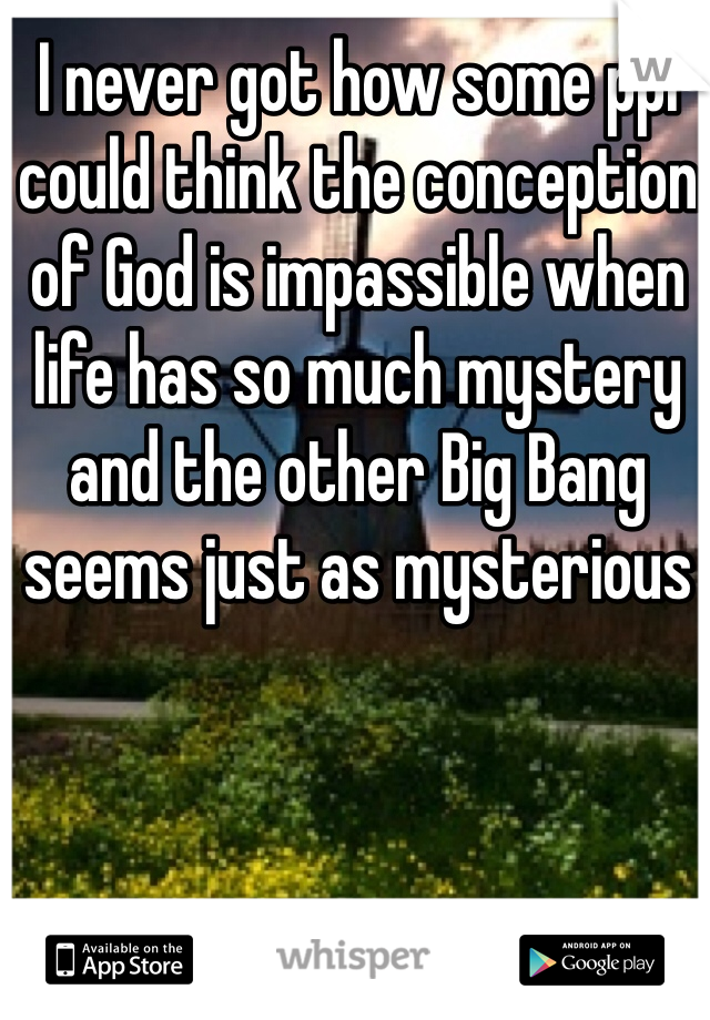 I never got how some ppl could think the conception of God is impassible when life has so much mystery and the other Big Bang seems just as mysterious