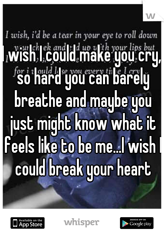 I wish I could make you cry, so hard you can barely breathe and maybe you just might know what it feels like to be me...I wish I could break your heart