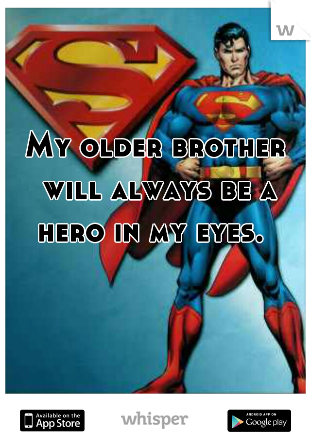 My older brother will always be a hero in my eyes.
