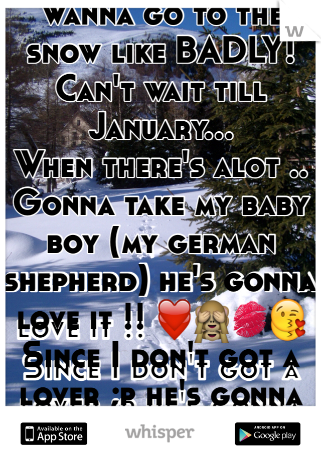 Wanna go to the snow like BADLY! Can't wait till January... When there's alot .. Gonna take my baby boy (my german shepherd) he's gonna love it !! ❤️🙈💋😘 Since I don't got a lover ;p he's gonna be my date lol