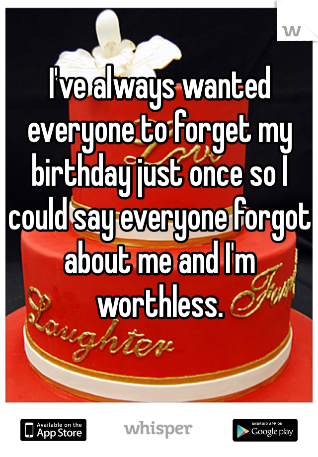 I've always wanted everyone to forget my birthday just once so I could say everyone forgot about me and I'm worthless.
