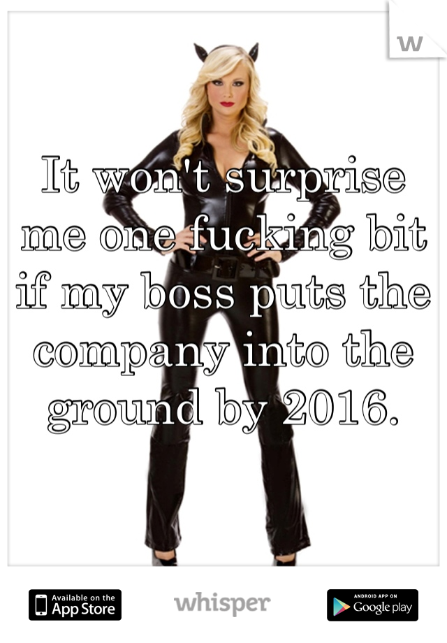 It won't surprise me one fucking bit if my boss puts the company into the ground by 2016.
