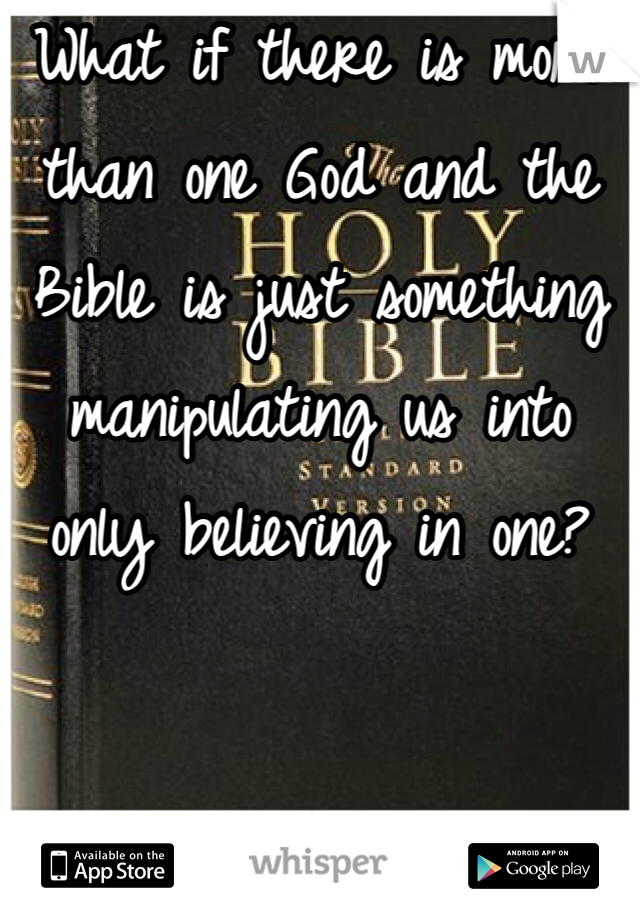 What if there is more than one God and the Bible is just something manipulating us into only believing in one?