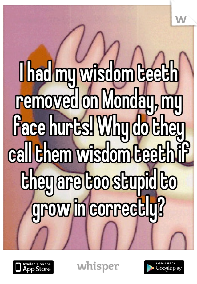 I had my wisdom teeth removed on Monday, my face hurts! Why do they call them wisdom teeth if they are too stupid to grow in correctly?