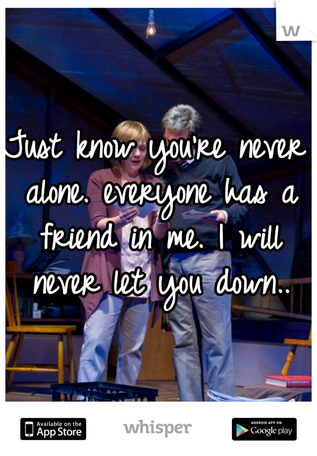 Just know you're never alone. everyone has a friend in me. I will never let you down..