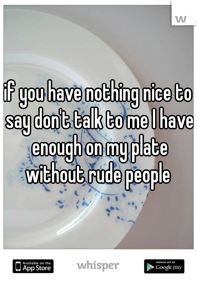 if you have nothing nice to say don't talk to me I have enough on my plate without rude people