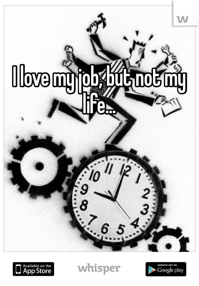 I love my job, but not my life...