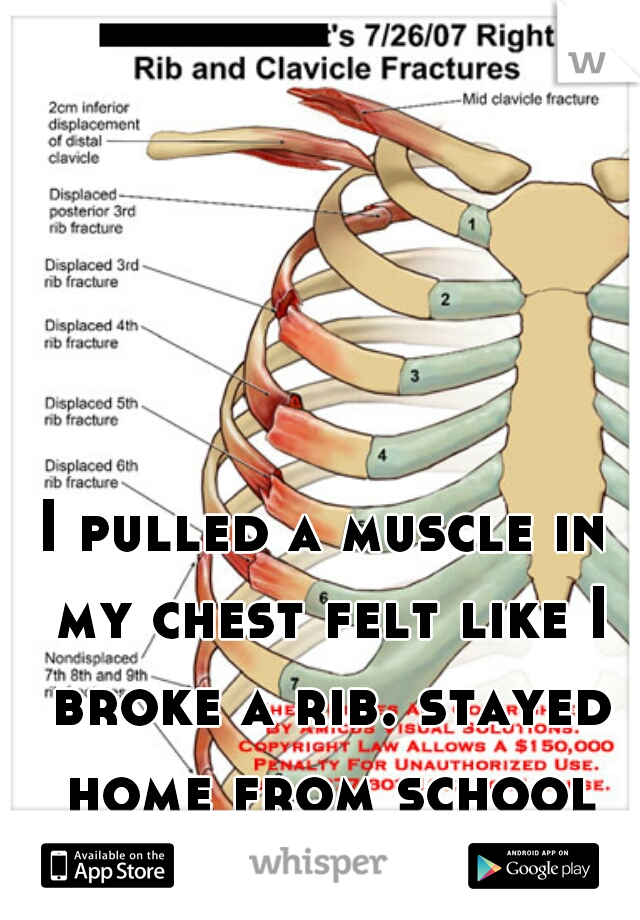 I pulled a muscle in my chest felt like I broke a rib. stayed home from school lol