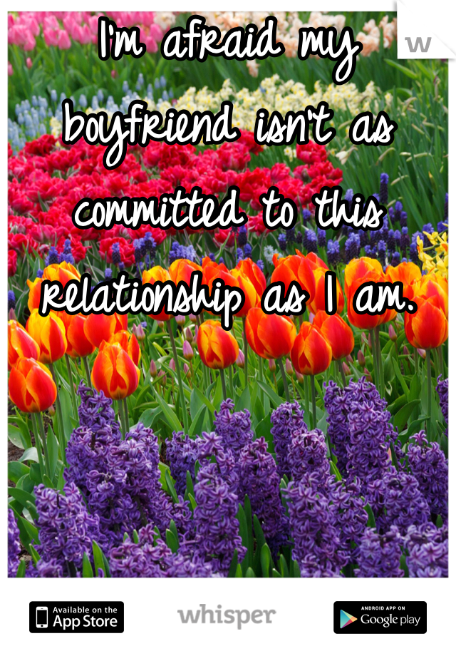 I'm afraid my boyfriend isn't as committed to this relationship as I am.