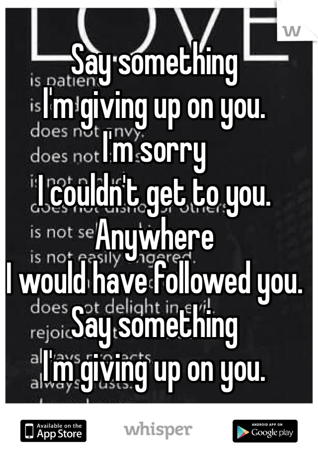 Say something I'm giving up on you. I'm sorry  I couldn't get to you. Anywhere I would have followed you. Say something I'm giving up on you.