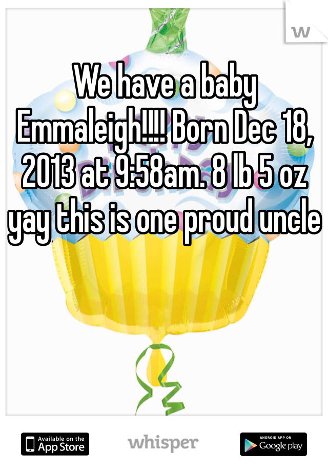 We have a baby Emmaleigh!!!! Born Dec 18, 2013 at 9:58am. 8 lb 5 oz yay this is one proud uncle