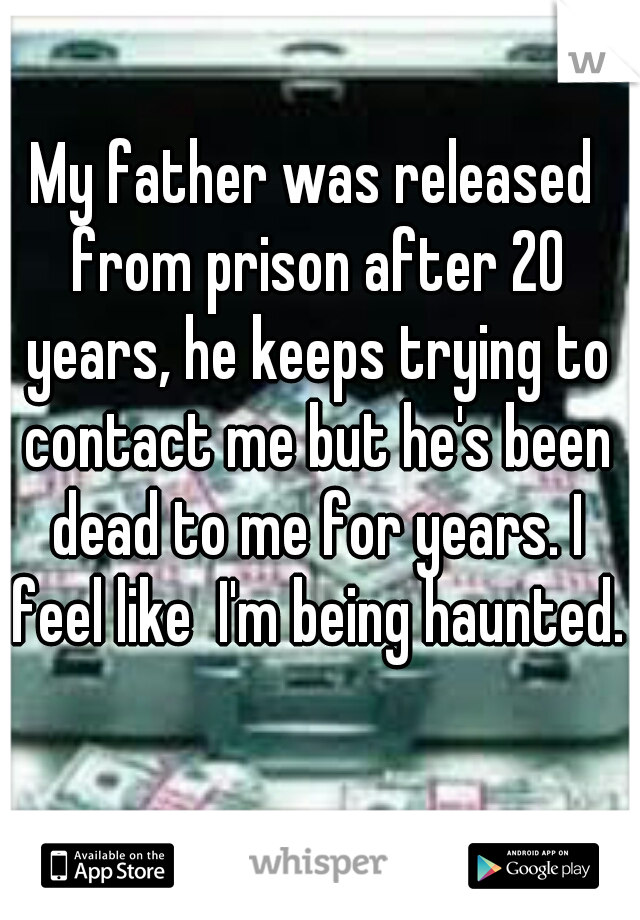 My father was released from prison after 20 years, he keeps trying to contact me but he's been dead to me for years. I feel like  I'm being haunted.