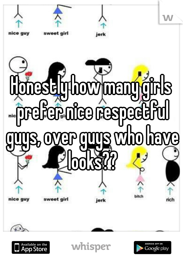 Honestly how many girls prefer nice respectful guys, over guys who have looks??