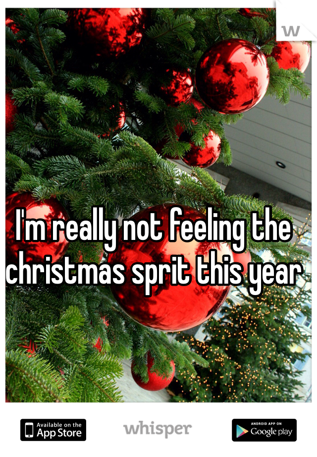 I'm really not feeling the christmas sprit this year