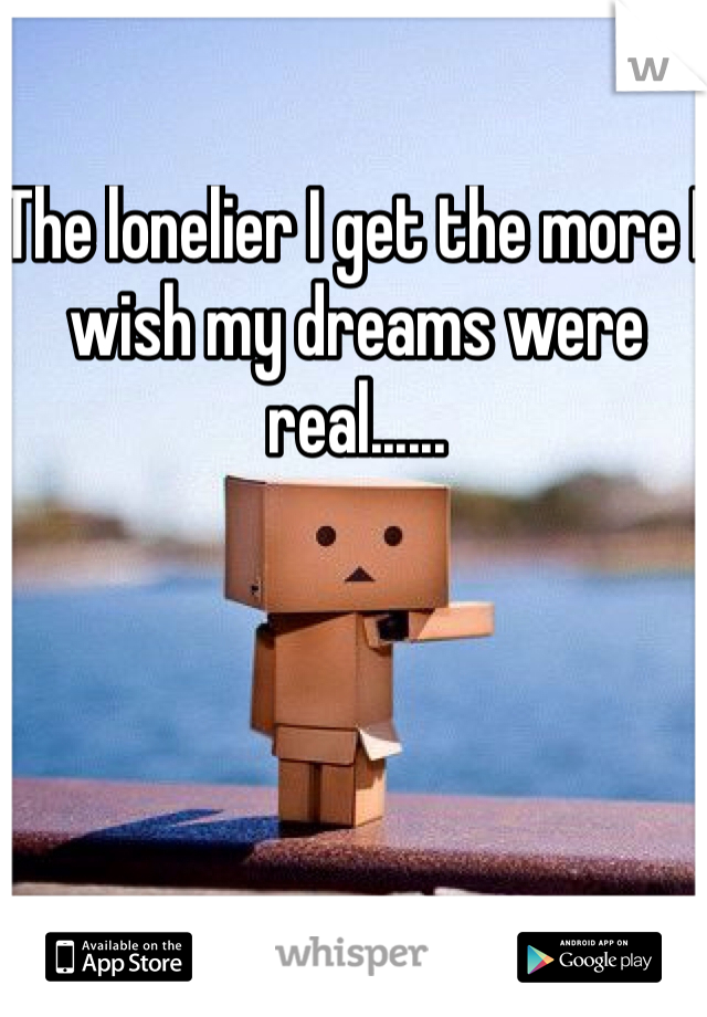 The lonelier I get the more I wish my dreams were real......