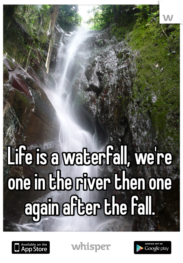 Life is a waterfall, we're one in the river then one again after the fall.
