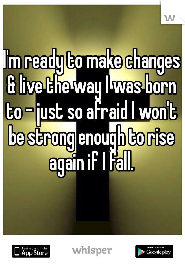 I'm ready to make changes & live the way I was born to - just so afraid I won't be strong enough to rise again if I fall.