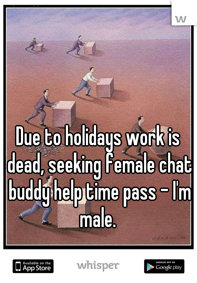Due to holidays work is dead, seeking female chat buddy help time pass - I'm male.