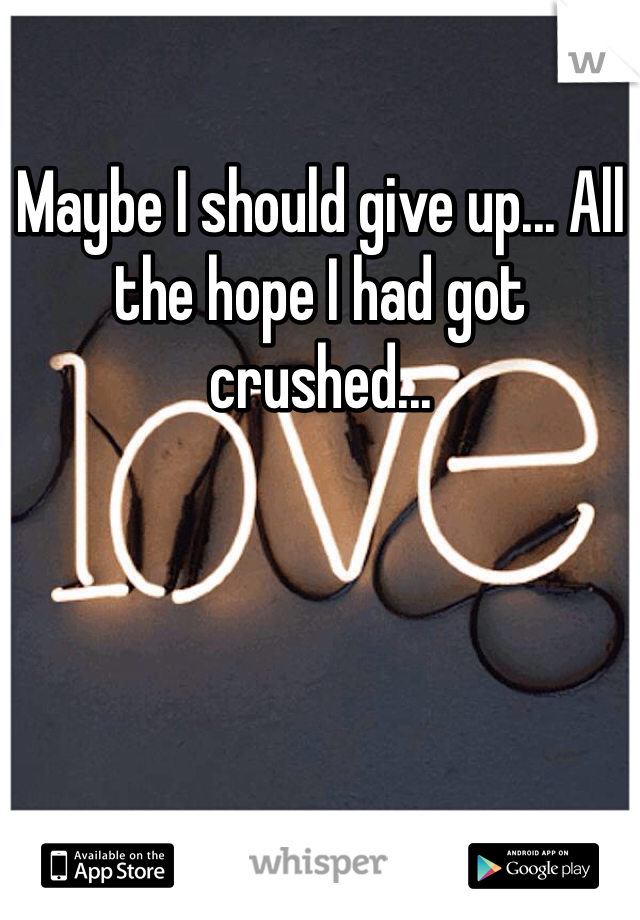 Maybe I should give up... All the hope I had got crushed...