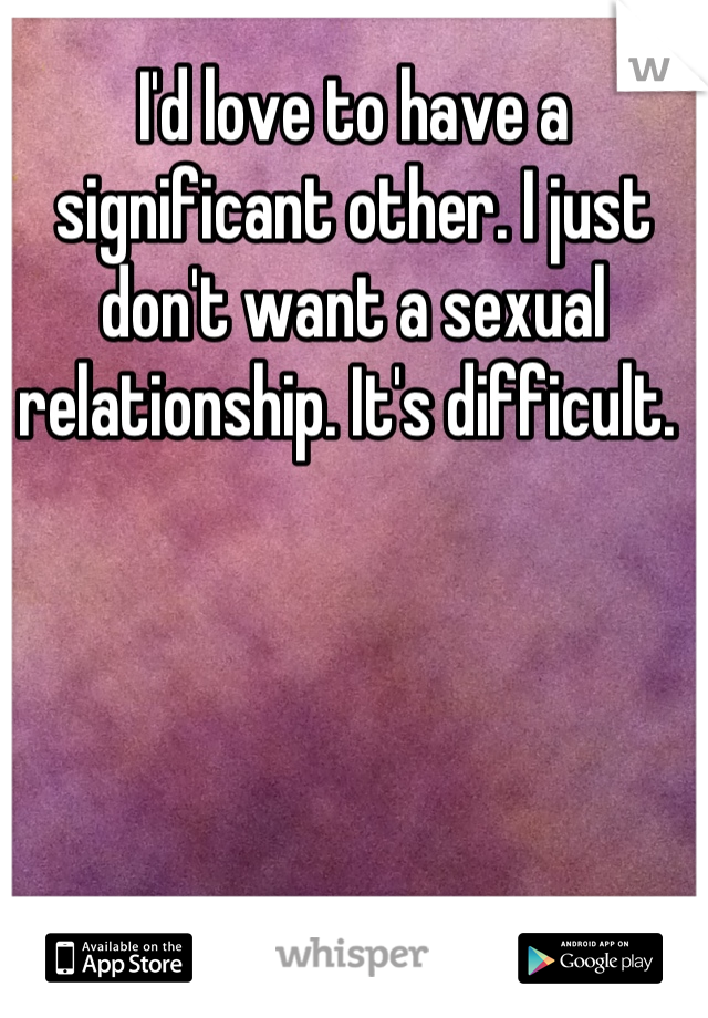 I'd love to have a significant other. I just don't want a sexual relationship. It's difficult.