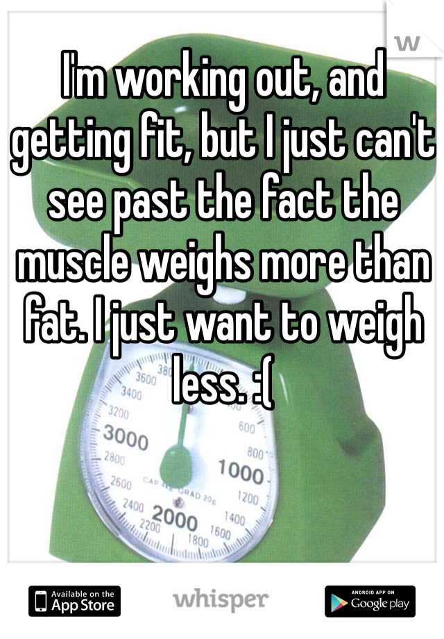 I'm working out, and getting fit, but I just can't see past the fact the muscle weighs more than fat. I just want to weigh less. :(