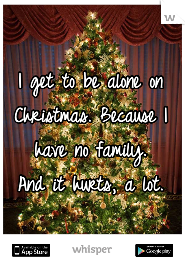 I get to be alone on Christmas. Because I have no family. And it hurts, a lot.