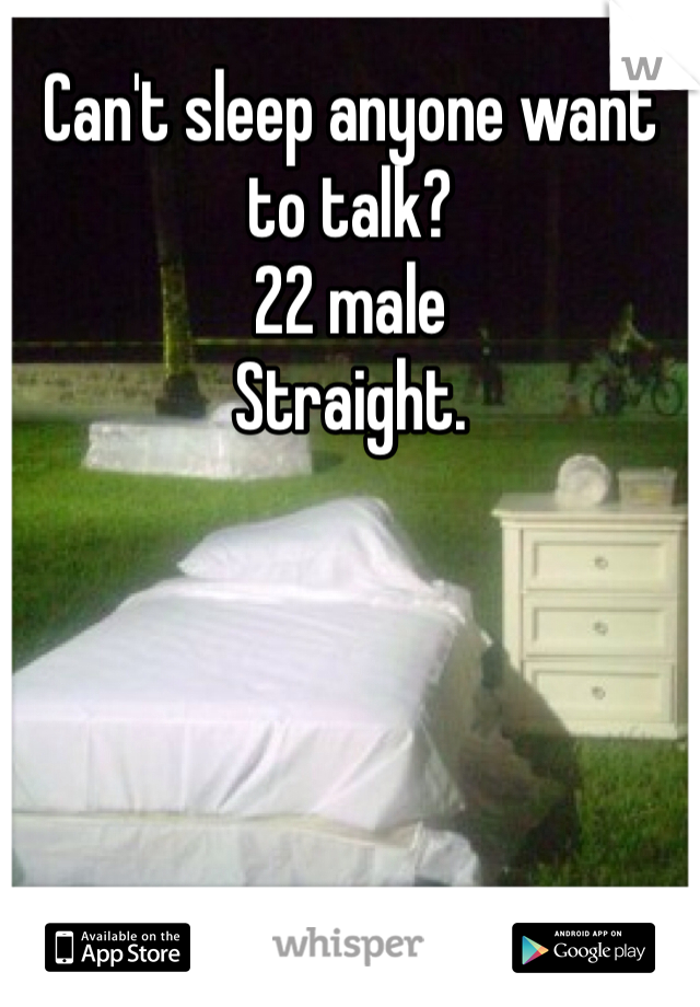 Can't sleep anyone want to talk? 22 male  Straight.