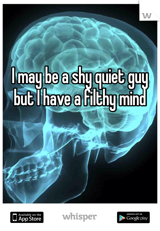 I may be a shy quiet guy but I have a filthy mind