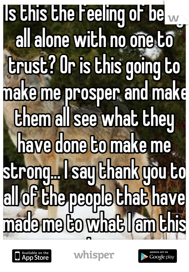 Is this the feeling of being all alone with no one to trust? Or is this going to make me prosper and make them all see what they have done to make me strong... I say thank you to all of the people that have made me to what I am this day
