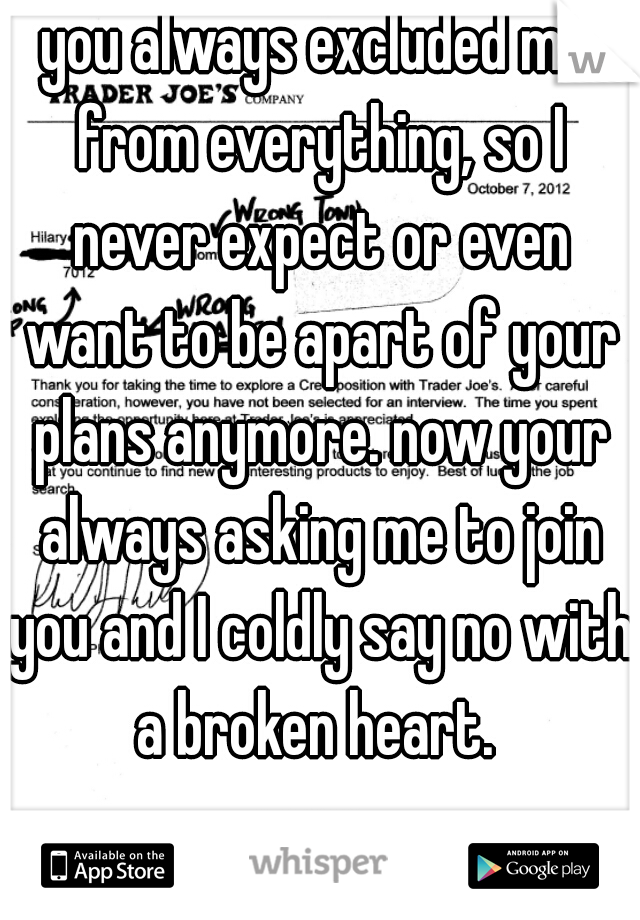 you always excluded me from everything, so I never expect or even want to be apart of your plans anymore. now your always asking me to join you and I coldly say no with a broken heart.