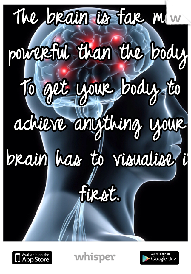 The brain is far more powerful than the body. To get your body to achieve anything your brain has to visualise it first.