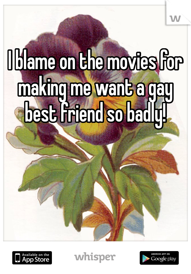 I blame on the movies for making me want a gay best friend so badly!