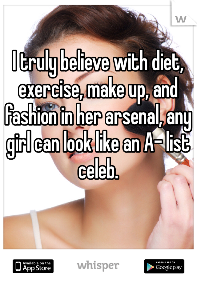 I truly believe with diet, exercise, make up, and fashion in her arsenal, any girl can look like an A- list celeb.