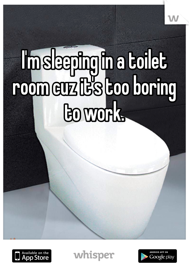 I'm sleeping in a toilet room cuz it's too boring to work.