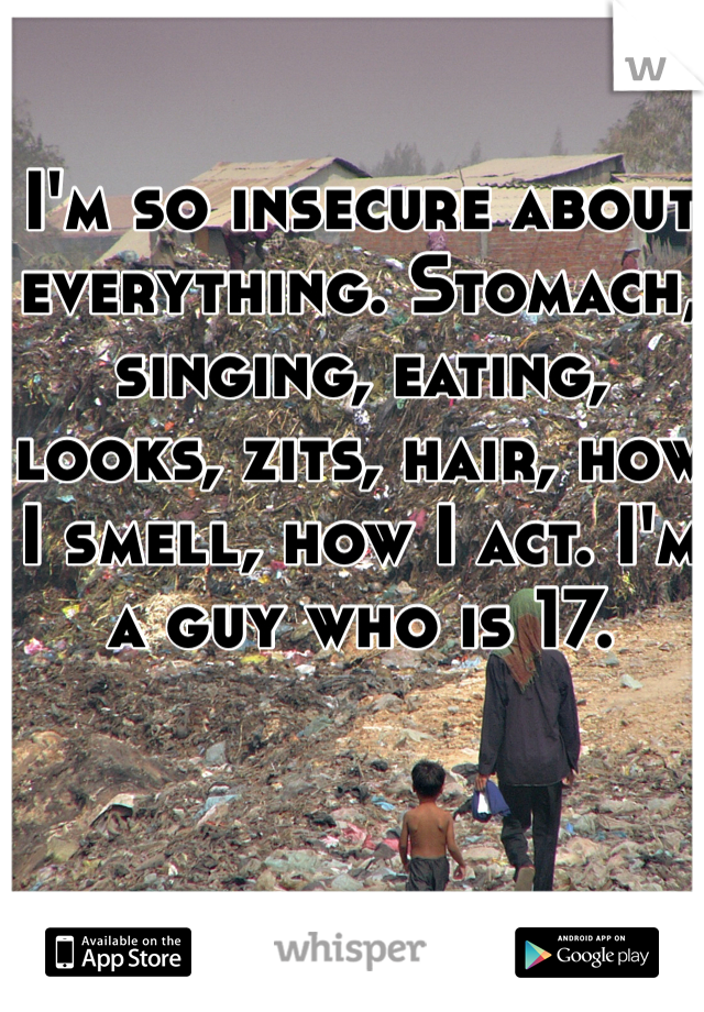 I'm so insecure about everything. Stomach, singing, eating, looks, zits, hair, how I smell, how I act. I'm a guy who is 17.