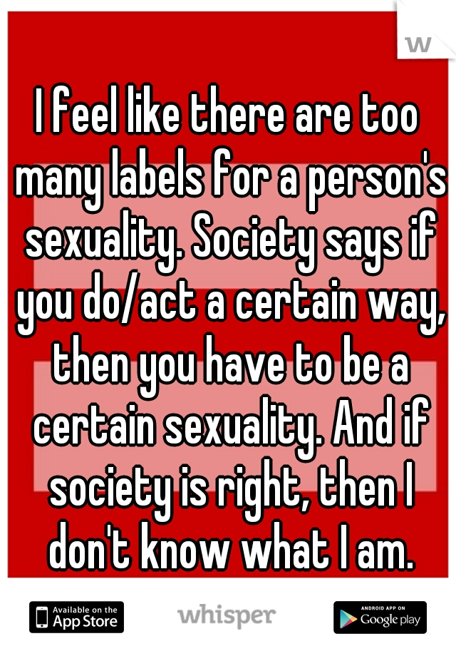 I feel like there are too many labels for a person's sexuality. Society says if you do/act a certain way, then you have to be a certain sexuality. And if society is right, then I don't know what I am.